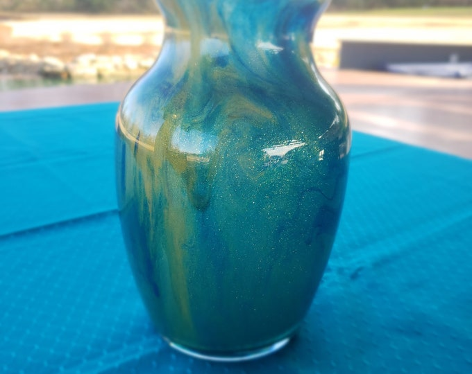 Painted Glass Vase: Green, Blue, Gold