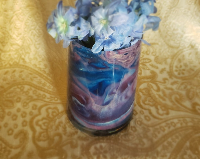 Painted Glass Vase: Purple and Blue