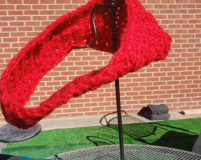 Red crocheted infinity scarf