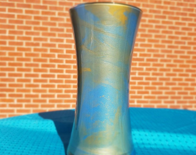 Painted Glass Vase: blue and gold
