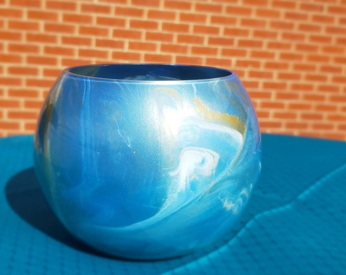 Small Painted Glass Bowl: Blue and Gold