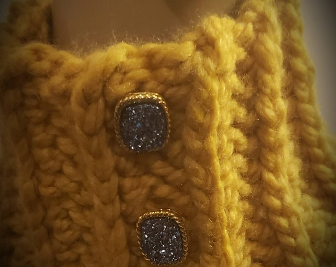Crocheted Cowl: Gold with Jeweled Accents