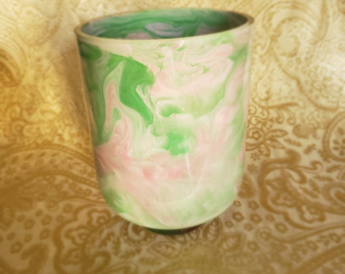 Painted Glass Vase: Pink and Green