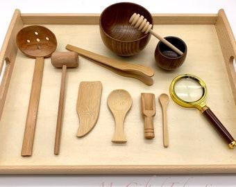11Pc Montessori Waldorf Sensory Bin Tools - Wooden Sensorial Loose Part Pretend Play - Preschool Toddler Children Gift- Homeschool Classroom