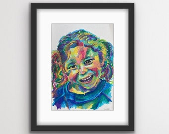 Custom portrait painting, Hand-painted, Children Portrait, Baby Portrait - colorful abstract, oil pastel - Commission painting from photo