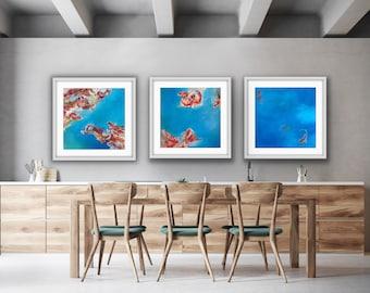 "Koi Fish Series - Triptych ""Purpose, Strength & Freedom"" - Set of 3 art prints"