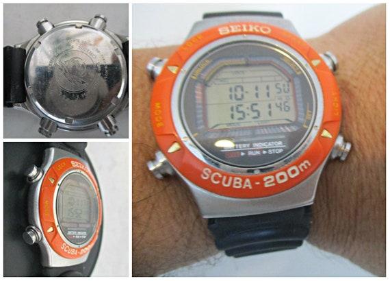 1990s Seiko Scuba Air Diver's 200M Orange Digital