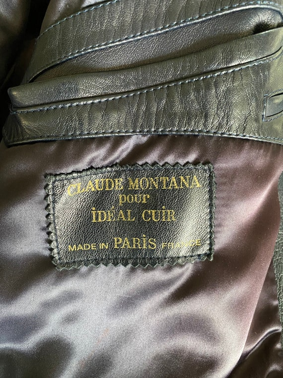 Claude Montana couture men's leather navy jacket