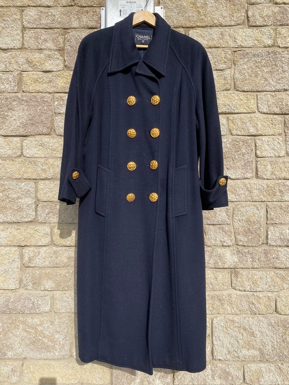 Chanel couture navy cashmere coat