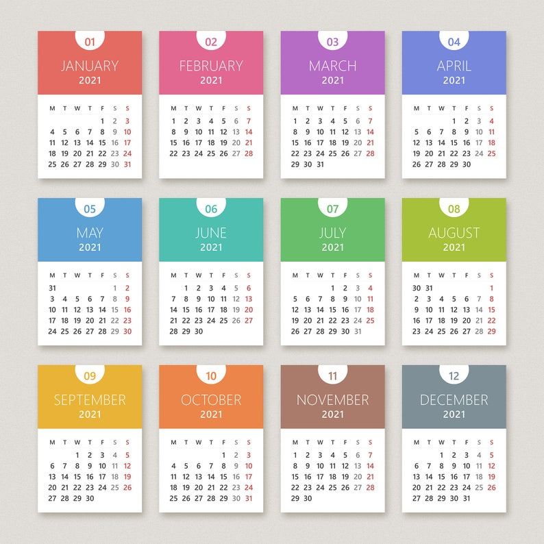 Calendar 2021 Printable PDF for A3 A4 A5 | Etsy