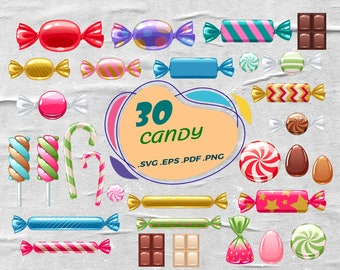 noel Buffet bar display lollipop candyfloss gumball graphic macaroons candycorn candy cane pretzel Christmas Candy Clipart sweets
