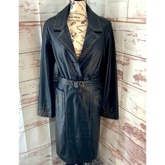 Betsey Johnson Black Leather Trench Coat  L