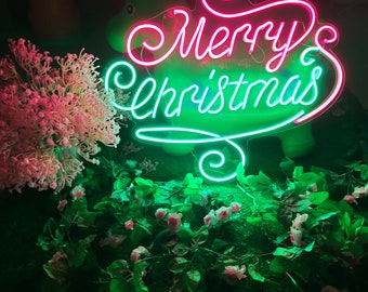 Merry Christmas Santa Claus Neon Sign  Custom Bar Silhouette Flexible LED Wall Bedroom Acrylic Art Christmas Ornament Holiday Decor