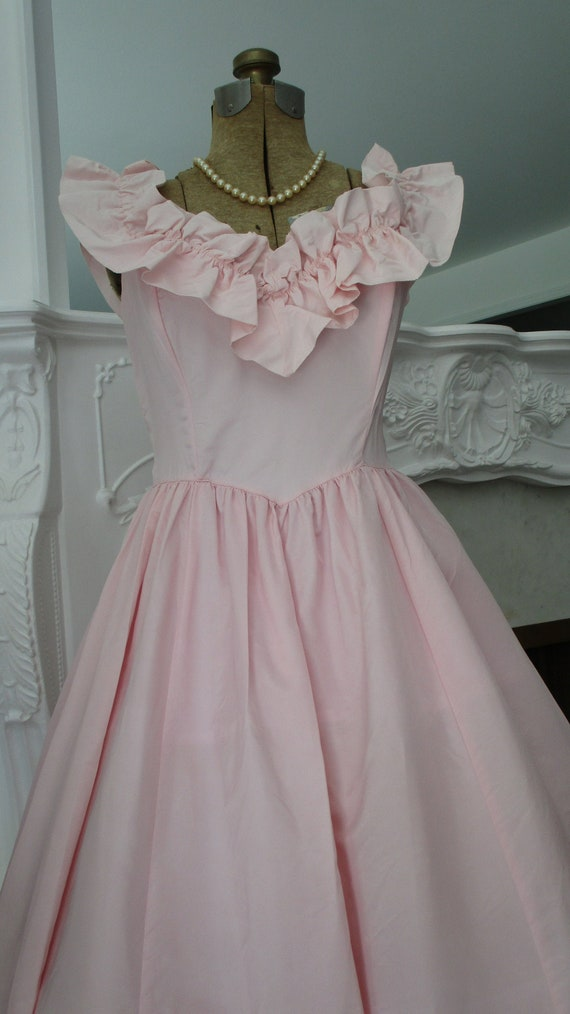 Vintage 1980s Dress- Pale Pink Gown By Gunne Sax x