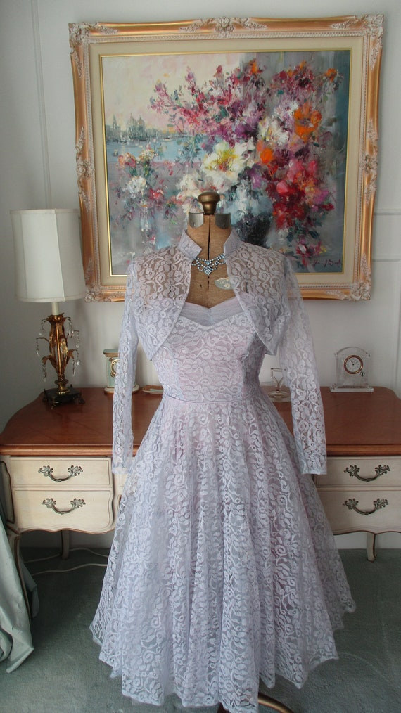 Vintage 1950s Prom Dress- Periwinkle Lace 1950s Pr