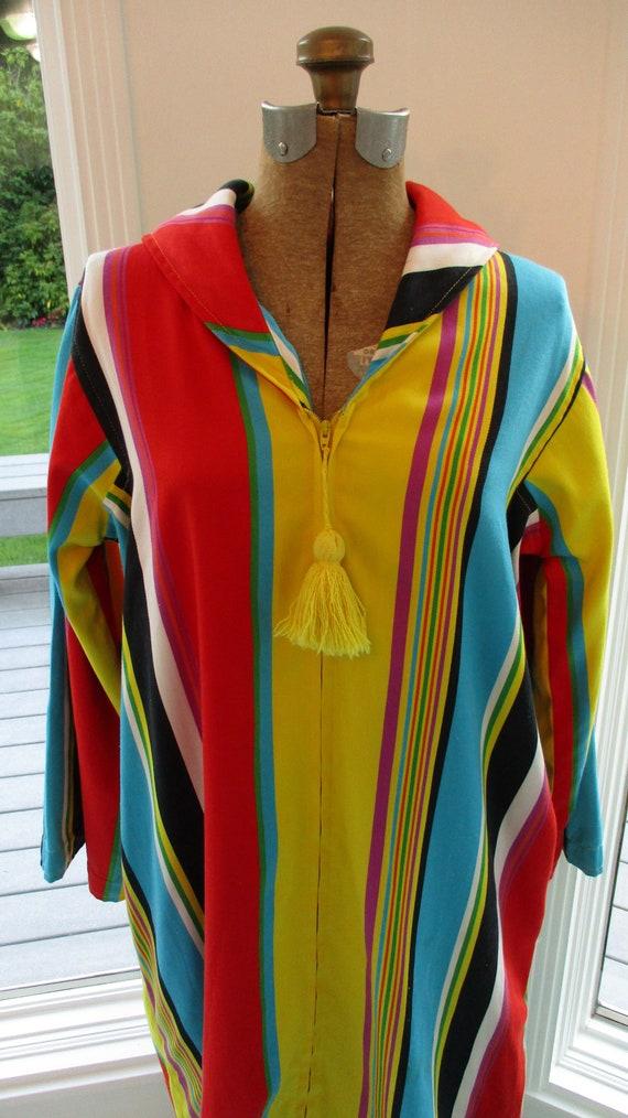 Vintage 1970s Caftan- Striped Cotton Caftan by I.