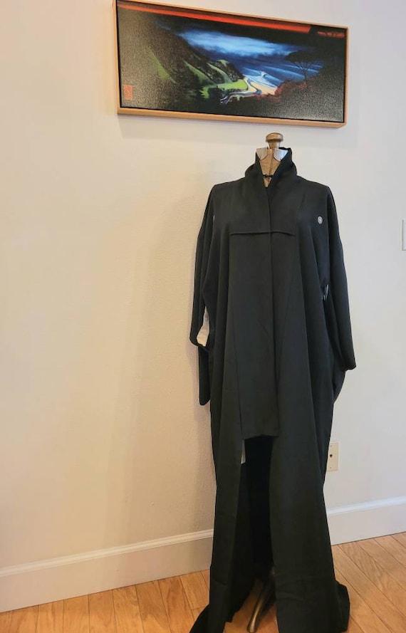 Vintage 1950s Black Silk Crepe Kimono