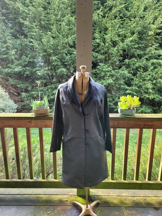 Vintage 1980s Black Leather Coat By Scully