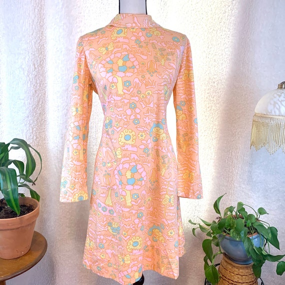 Vintage Psychedelic mini dress , pastel long sleev