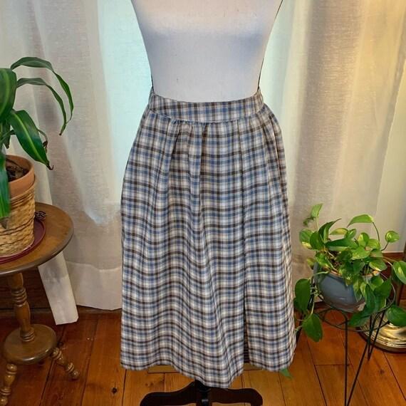 Vintage handmade plaid skirt, handmade plaid circl