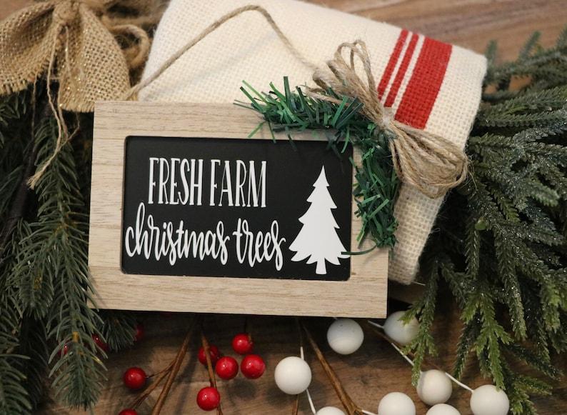 Christmas Board Christmas Ornament Farmhouse Christmas Tree Ornament Farm Fresh Trees   Handmade