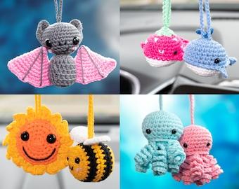 Cute Car Mirror Hanging Accessories for Women Teens Anime Interior Rear View Mirror Bat Giraffe Bee Car Accessories Crochet Whale Octopus