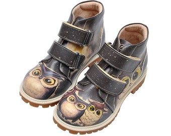 """Animal Print Shoes for Kids, DOGO """"Owl Family"""" Kids Ankle Boot, Vegan Chelsea Boot, Handmade by Best Turkish Shoes Manufacturer."""
