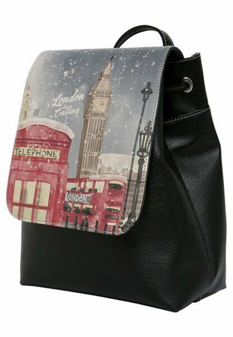 DOGO London is Calling Small Backpack Vegan Bag Fold over Backpack with drawstring Handmade by Best Turkish Manufacturer.