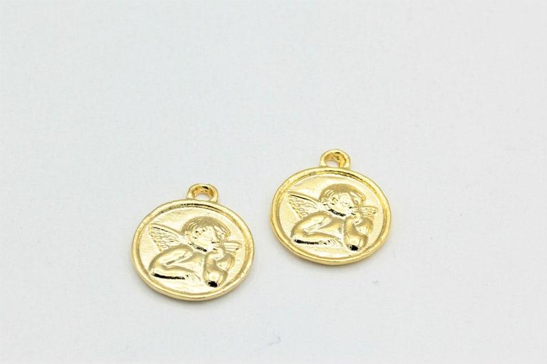 18x21mm Angel Shape Necklace  1 pcs, Angel Coins Angel Medallion Pendant,24k Shine Gold Plated Medallion ALT-105 Angel Necklace