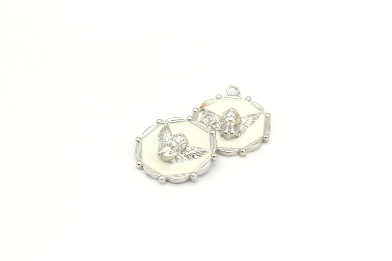Angel Necklace ,SLV-269 White Angel Medallion Enamel Angel Necklace 1Pcs, Silver Plated Angel Medallion 24x29mm Angel Jewelry