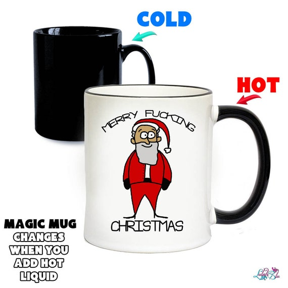 Merry F*CKING CHRISTMAS Funny Novelty Heat Colour Changing Mug
