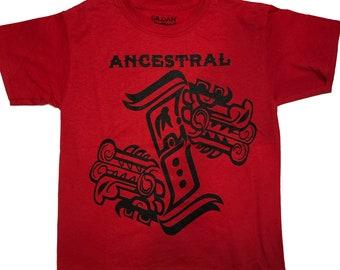Youth Red Ancestral Dia de Los Muertos Festival shirt