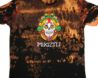 Adult 3XL Medium Black Tie Dye Dia de los Muertos Phx Festival shirt