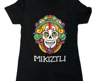Women's Black Crew Neck Mikiztli Dia de Los Muertos Phx Festival Shirt