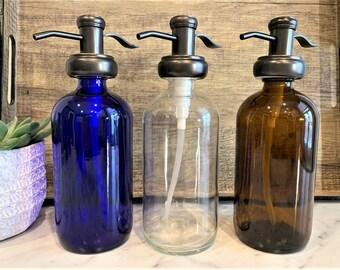 Modern Farmhouse Glass Soap Dispenser Oil Rubbed Bronze  Amber/Clear/Cobalt Blue Bottle   Metal Pump  Hand Soap, Hand Lotion, Dish Soap