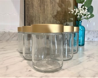 8 oz. Clear Glass Jar Straight Sided with Brushed Gold Lid | Perfect for your beauty products.  Add a touch of elegance to your products!