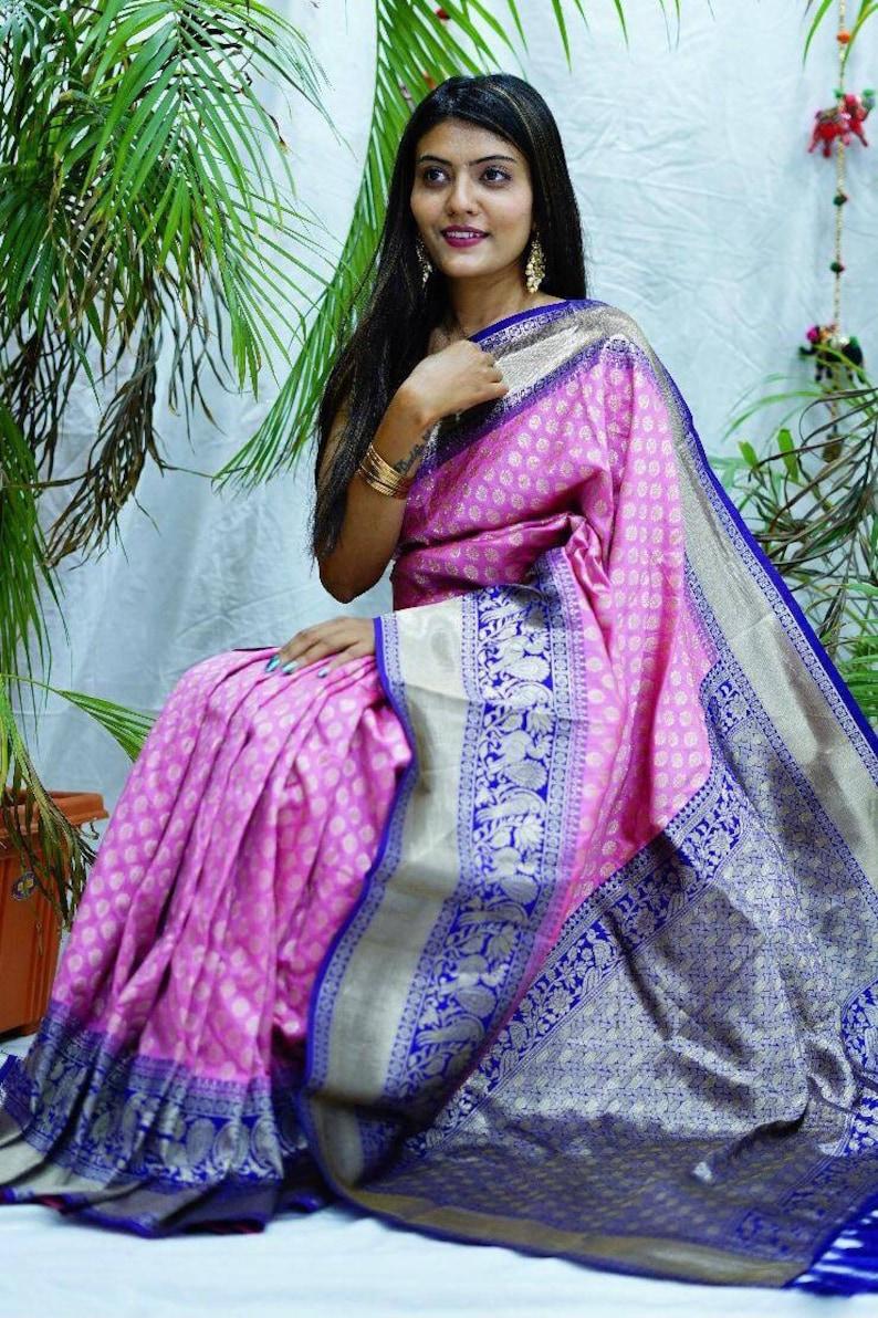 saree dress indian saree designer saree,traditional saree,sari,Rani pink saree wedding saree Kanchipuram Silk saree and blouse for women