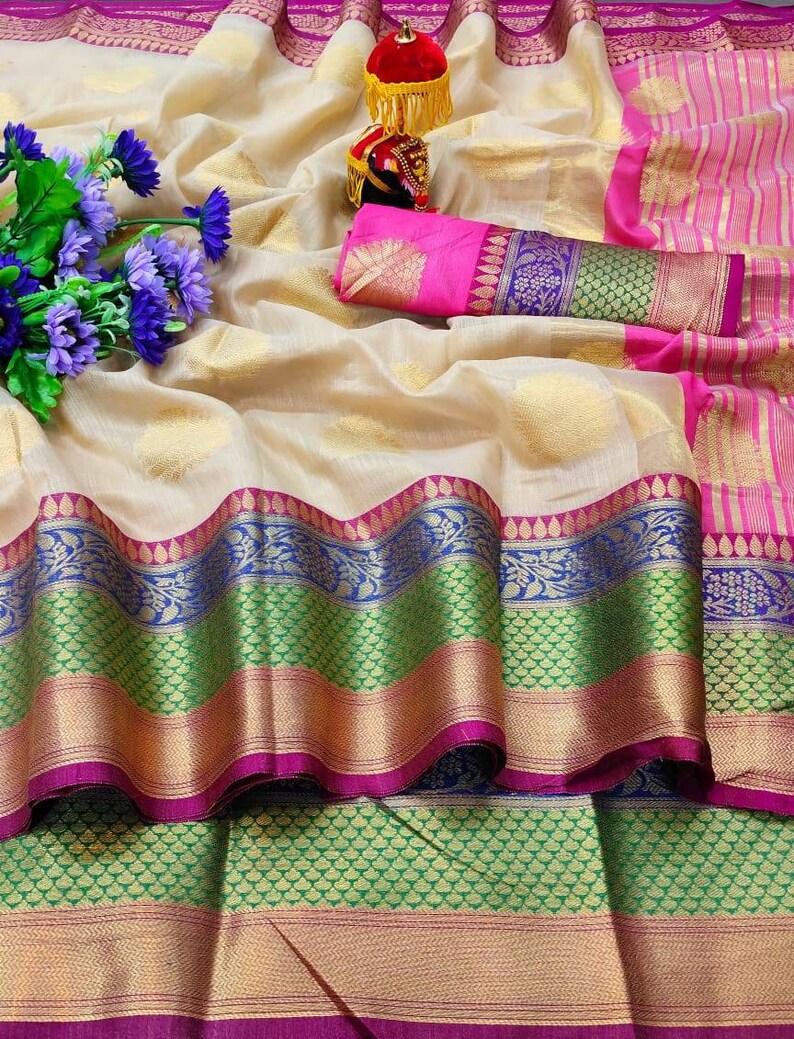 white Saree Pure Linen Base Saree and blouse for women.saree,saree for women,wedding saree,indian saree,sari,saris traditional saree
