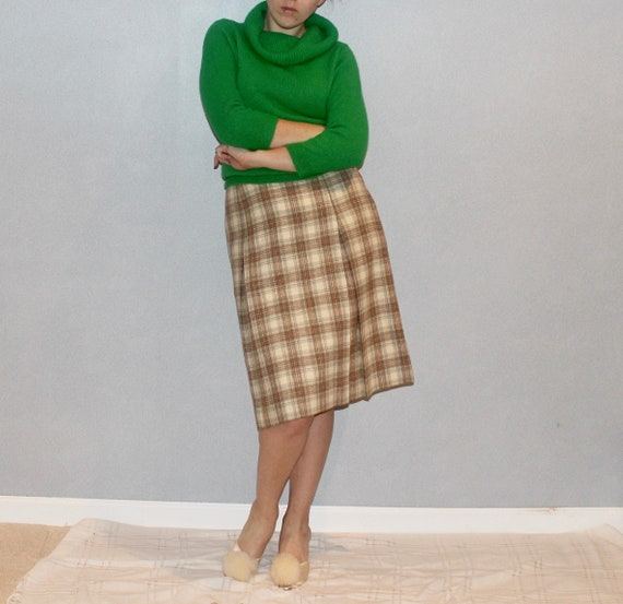 60s Green Knit Cowl Sweater