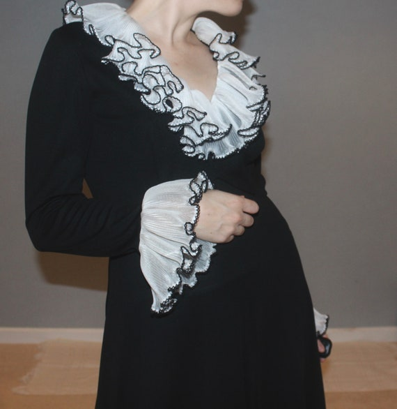 Black Gown with Gorgeous Accent Sleeves and Neckli