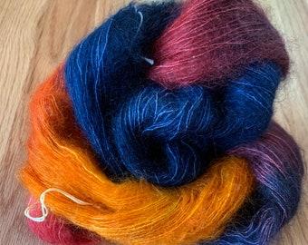 kid mohair Mountain aqua silk lace weight handdyed yarn 25g.