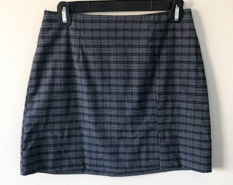 RARE Vintage Wool School Girl Mini Skirt with Suspenders  50s 60s 100/% Wool Blue and White Plaid