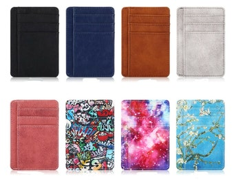 Slim Minimalist PU Leather Credit Card Holder, RFID Blocking ID Holder Wallet Card Slot, Card Sleeve, Card Case, Best Gift for Friends