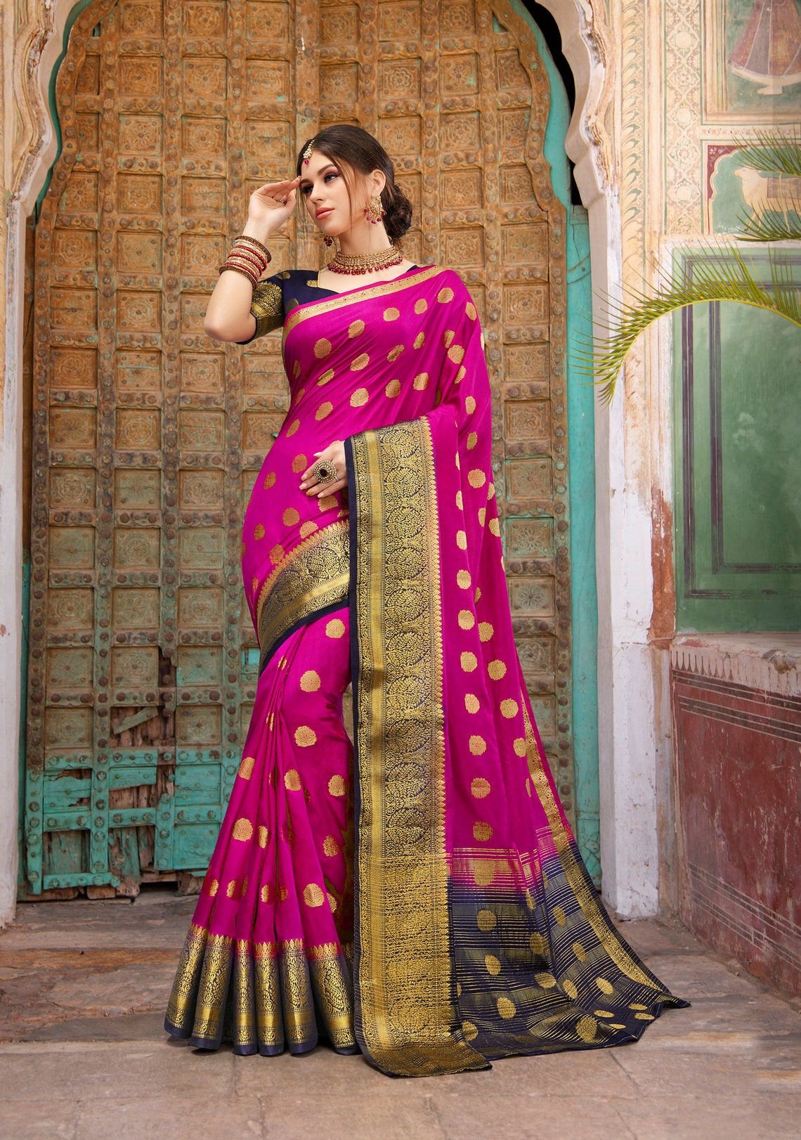 Diwali Stylish Anarkali Salwar Sari Unstitched Pakistani Suit