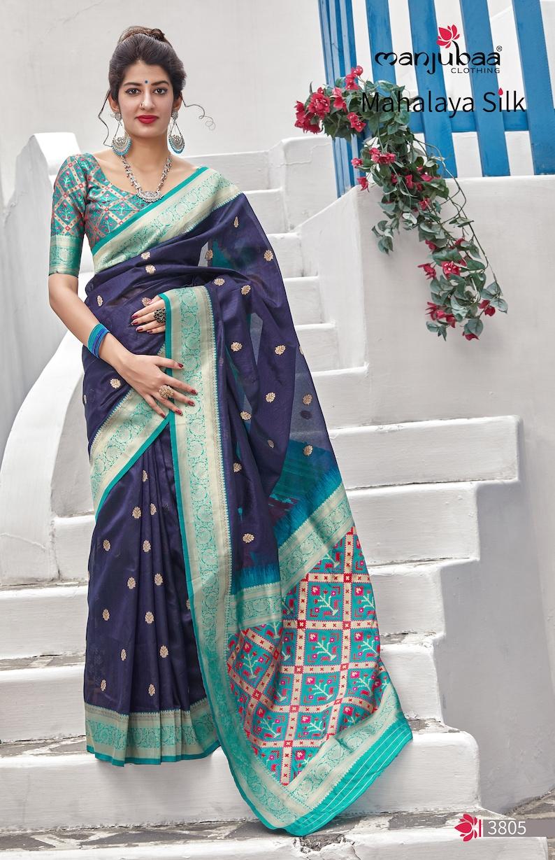 Christmas Designer Wedding Stylish Blue Banarasi Art Silk Sari  Unstitch Blouse Piece Indian Beautiful Partywear Saree for Women Latest