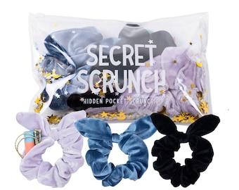 Bow Scrunchies Scarf Scrunchie qty: 1 XL Scrunchie Spring Scrunchie with Option of Zipper Pocket Hidden Pocket Ponytail Holder
