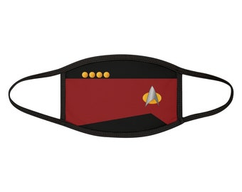 Star Trek Face Mask / Command Red / Mixed-Fabric Face Mask / Picard / TNG / Trekkie Facemask / Halloween Costume Mask