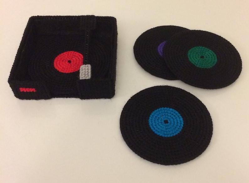 Plastic Canvas Pattern Retro Record Coasters image 0