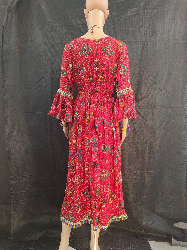 Red colour printed cotton handmade patched dress