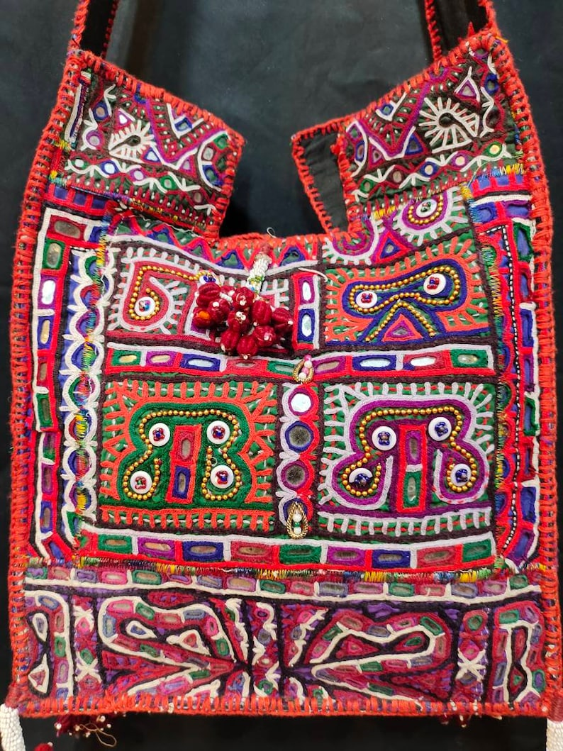 Red rabary textile handmade bag